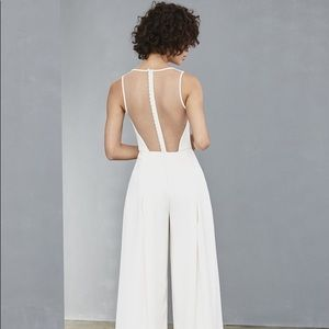 NWT Amsale Ivory jumpsuit w/sheer back S2